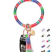 abordables -porte-clés bracelets bracelet porte-clés bracelet porte-clés - grand cercle en cuir pompon porte-bracelet pour les femmes cadeau