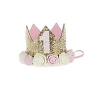 abordables -bébé princesse anniversaire chapeau diadème couronne sparkle style de fleur d'or avec fleur de rose artificielle