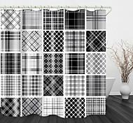 abordables -Plaid rétro tissu imprimé tissu imperméable rideau de douche pour salle de bain décor à la maison couvert de rideaux de baignoire doublure comprend avec crochets