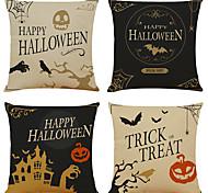 abordables -fête d'halloween décor d'halloween fantôme d'horreur 1 lot de 4 pièces série d'halloween housse de coussin décoratif en lin pour cadeau d'halloween décoration de la maison, 18 x 18 pouces 45 x 45 cm