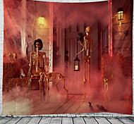 abordables -halloween tapisserie murale art décor couverture rideau pique-nique nappe suspendu maison chambre salon dortoir décoration crâne psychédélique squelette hanté maison effrayante polyester