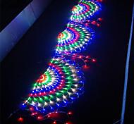 economico -3.5m 3xpeacock mesh net led string lights natale capodanno flessibile net string illuminazione colorata per patio esterno prato albero decor lamp holiday light ac110v 220v waterproof