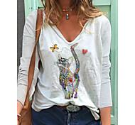economico -Per donna maglietta Gatto Manica lunga Con stampe A V Top Cotone Essenziale Top di base Bianco Blu Rosa