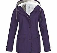 abordables -Tops femmes couleur unie épaississement veste col en fourrure en plein air, plus la taille manteau coupe-vent à capuche en plein air