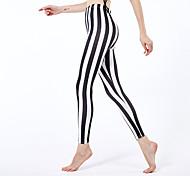 abordables -Femme Sportif Yoga Confort Slim Quotidien Leggings Pantalon Rayé Cheville Taille haute Noir