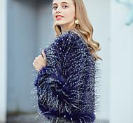 economico -Per donna Tinta unita Essenziale Autunno inverno Cappotto di pelliccia sintetica Corto Feste Manica lunga Pelliccia sintetica Cappotto Top Blu marino