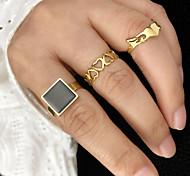 economico -Anello Oro Argento Acciaio inossidabile Acciaio al titanio Cuori Amore Alla moda Semplice Lusso 3 pezzi Indice / Per donna
