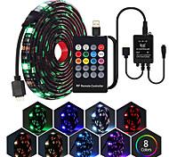 abordables -bandes de lumière led 1m 5050 rgb tiktok lights bande de led usb ensemble avec télécommande 20key rf contrôleur de musique led usb pour ruban de lampe de fond tv ruban led