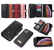 economico -telefono Custodia Per Apple Integrale Custodia in pelle Porta carte di credito iPhone 12 Pro Max 11 SE 2020 X XR XS Max 8 7 6 A portafoglio Porta-carte di credito Resistente agli urti Tinta unica