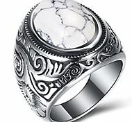 economico -anello vintage retrò in acciaio inossidabile con turchese e onice (bianco, 13)