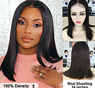 abordables -Perruque Cheveux Naturel humain Fermeture 4x4 Cheveux Brésiliens Droite naturelle Femme Densité 150% Court Longueur moyenne Couleur naturelle Perruque Naturelle Dentelle Longue