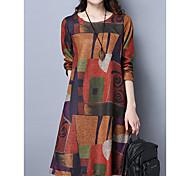 abordables -Femme Robe Trapèze Robe Longueur Genou Violet Orange Manches Longues Imprimé Automne Col Rond chaud Simple robes de vacances Coton 2021 M L XL XXL