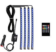 abordables -ZDM® 1m Bande lumineuse LED Ruban LED Ensemble de Luminaires 48 LED SMD5050 1 24Keys Télécommande 1Set Support de montage 1 set Blanc Chaud RGB Imperméable Design nouveau Pour Véhicules 12 V  Auto-Adh