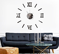 abordables -3D bricolage horloge murale chiffres romains horloge sans cadre miroir autocollant mural décor à la maison pour salon chambre