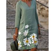 abordables -Femme Robe Droite Robe Longueur Genou Vert Claire Demi Manches Imprimé Imprimé Eté Col en V chaud Simple robes de vacances 2021 S M L XL XXL 3XL 4XL 5XL