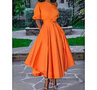 abordables -Femme Robe Évasée Robe mi-longue Blanche Bleu Rose Claire Orange Gris Manches Courtes Couleur unie Lacet Printemps Une Epaule Elégant 2021 M L XL XXL