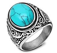 economico -anelli turchese ovale blu dichiarazione vintage retrò misura 15
