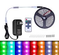 economico -Strisce luminose a led impermeabili 2m 5m tiktok luci di striscia a led 5050120 led smd bianco caldo bianco multicolore con controller dimmer rf a 11 tasti e kit adattatore