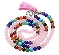 abordables -7 chakra bouddha mala perles de prière 108 méditation guérison multicouche bracelet / collier w / arbre de vie pompon charme (quartz rose)