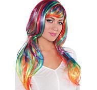 abordables -Perruques de Déguisement Glamorous Long Rainbow Droit Coupe Lutin Avec Frange Perruque Longue Arc-en-ciel Cheveux Synthétiques Femme Design à la mode Cosplay Exquis Couleur mixte