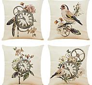 economico -set di 4 fodere per cuscini decorativi quadrati in lino per orologio classico copricuscino per divano 18x18