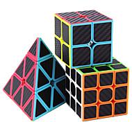 abordables -Ensemble de cubes de vitesse 3 pcs Cube magique Cube IQ Fibre de carbone 2*2*2 3*3*3 Pack Speedcubing Cube de puzzle 3D Anti-Stress Cube casse-tête Sans étiquettes Lisse Jouets de bureau Pyramide