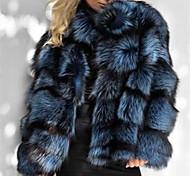 economico -Per donna Tinta unita Attivo Autunno inverno Cappotto di pelliccia sintetica Standard Quotidiano Manica lunga Pelliccia sintetica Cappotto Top Blu
