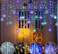 economico -3.5 m decorazione natalizia fiocco di neve colorato led luce stringa fata 96 led luce lampeggiante tenda impermeabile festa all'aperto onda collegabile luci flessibili regalo christrmas ac 100v-240v