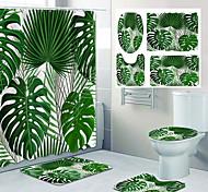 economico -disegno a quattro pezzi della toletta della doccia della tenda della doccia del bagno di stampa del modello delle foglie tropicali