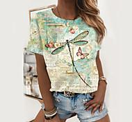 abordables -T-shirt Femme Quotidien Cœur Teinture par Nouage Imprimés Photos Manches Courtes Imprimé Col Rond Hauts Standard Haut de base basique Blanche Vert