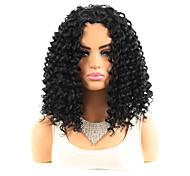 abordables -Perruque synthétique de 12 pouces de longueur moyenne noir naturel # 1b femmes de conception à la mode partie centrale partie bob noir petite perruque courte bouclée coiffures imitation dentelle cuir