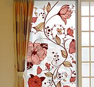 abordables -givré vie privée fleurs motif fenêtre film maison chambre salle de bains verre fenêtre film autocollants auto-adhésif autocollant 60 * 116 cm