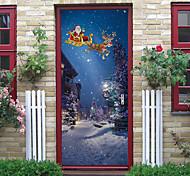abordables -noël créatif 3d porte autocollants rénovation de porte en bois auto-adhésif pvc amovible chambre stickers muraux