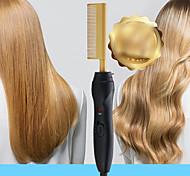 abordables -peigne à cheveux raides doré curling multifonction et peigne à friser droit à double usage peigne à barbe pour hommes