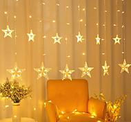 abordables -décoration de noël led 12 étoiles rideaux lumières 150 leds fenêtre glaçon lumières de noël 8 modes toile de fond guirlandes lumineuses pour extérieur intérieur maison chambre de mariage mur de vacanc
