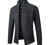 economico -Per uomo Monocolore Cardigan Manica lunga Maglioni cardigan Colletto alla coreana Nero Grigio chiaro Grigio scuro