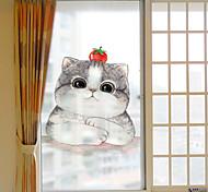 abordables -Givré vie privée dessin animé mignon chat motif fenêtre film maison chambre salle de bains verre fenêtre film autocollants auto-adhésif autocollant 60 * 116 cm