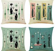 economico -set di 4 fodere per cuscini decorativi quadrati in lino per gatti con fodere per cuscini per divano 18x18