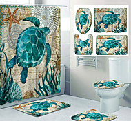 economico -stampa del modello della tartaruga di mare tenda della doccia del bagno design a quattro pezzi per il tempo libero