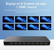 economico -vention hdmi splitter 1 in 8 out 4k 1x8 splitter adattatore interruttore hdmi con alimentatore per tv ps3 / 4 laptop hdmi splitter metallo