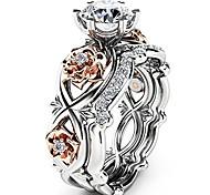economico -anelli, rosa floreale fiore fortunato foglia diamanti anelli regalo gioielli da donna di zyooh (oro, 7)