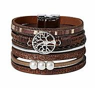economico -albero della vita boho bracciale avvolgente in pelle multistrato per le donne braccialetto con chiusura magnetica lucida gioielli per ragazza (marrone)