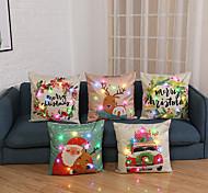 abordables -5pcs taie d'oreiller décoration de cadeau de noël avec des lumières LED plantes de bande dessinée de lin impression housse de coussin lumineux canapé chaise de table 45x45cm