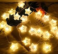 abordables -star smiley conte de fées guirlandes lumineuses 1.5m 10leds 3m 20leds alimenté par batterie fête d'anniversaire de noël décoration de la chambre des enfants lumières livraison sans batterie