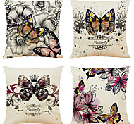 economico -set di 4 fodere per cuscini decorativi quadrati in lino con farfalle artistiche copridivano per cuscini 18x18