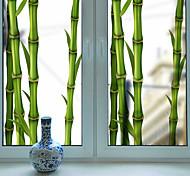 abordables -givré vie privée vert bambou motif fenêtre film maison chambre salle de bains verre fenêtre film autocollants auto-adhésif autocollant 60 * 116 cm