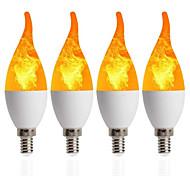 abordables -4 pcs 1 pcs LED Bougie Lampe E14 Flamme Ampoule 85-265V LED Effet De Flamme Feu Ampoules Scintillantes Émulation Décor LED Lampe C35