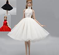economico -Abito da bambola Miscela lino / cotone Questo è un abito completo di un solo pezzo Senza accessori Gonna Semplice Tutti / Per la bambola da 11,5 pollici