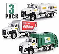 abordables -Lot de 3 véhicules de transport de ville moulés sous pression, camion à ordures, camion-citerne, camion de livraison express, voitures miniatures à collectionner en métal à l'échelle 1/50, jouets de