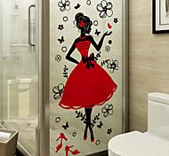 abordables -givré vie privée mode fille motif fenêtre film maison chambre salle de bains verre fenêtre film autocollants auto-adhésif autocollant 60 * 116 cm